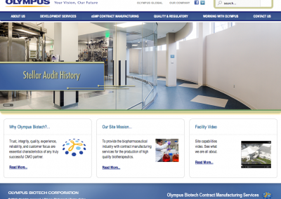 Olympus Biotech Manufacturing Corporate Joomla Website